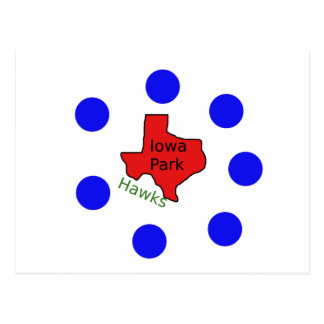 Iowa Park, Texas Design (Hawks Text Included) Postcard