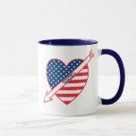 Iowa Patriot Flag Heart Mug