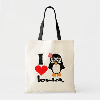Iowa Penguin - I Love Iowa Tote Bag
