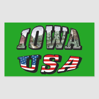 Iowa Picture and USA Flag Text Rectangular Sticker