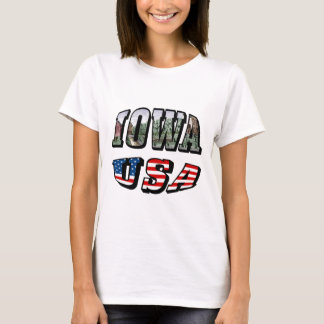 Iowa Picture and USA Flag Text T-Shirt