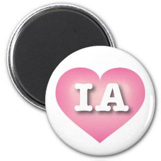 Iowa Pink Fade Heart - Big Love 2 Inch Round Magnet