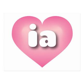 iowa pink fade heart - mini love postcard
