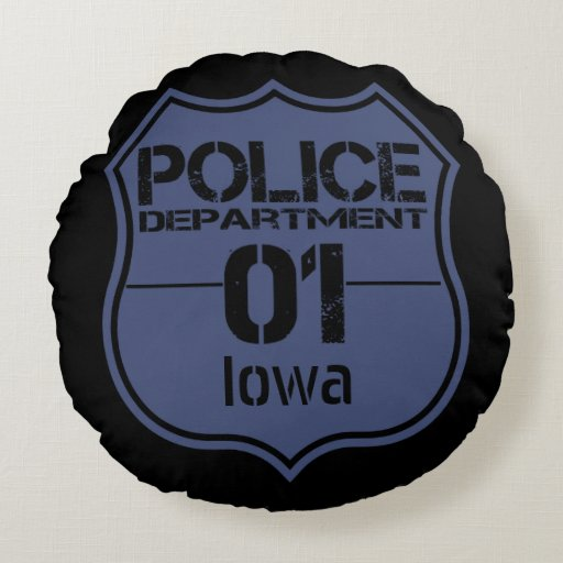 Iowa police department shield 01 round pillow zazzle for Laporte city police department