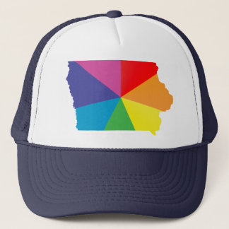 iowa pride. angled. trucker hat