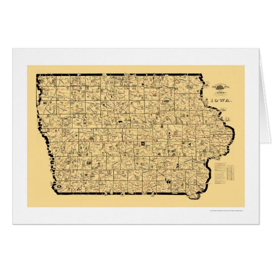 Iowa Railroad Map 1897 Card