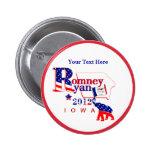 Iowa Romney y botón de Ryan 2012 - personalizar 2 Pin