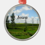 Iowa Round Metal Christmas Ornament