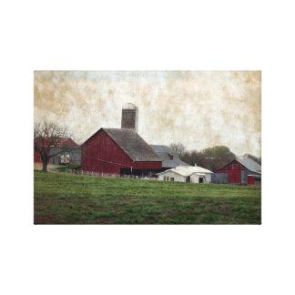 Iowa rural Amish que cultiva escena de la granja d Lona Estirada Galerías
