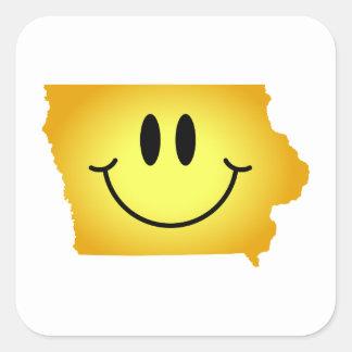 Iowa Smiley Face Square Stickers