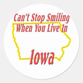Iowa - Smiling Round Stickers
