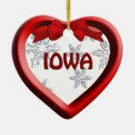 Iowa Snowflake Heart Christmas Ornament