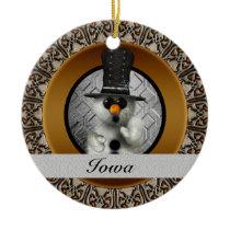 Iowa Snowman Christmas Ornament