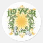 Iowa solar pegatina redonda