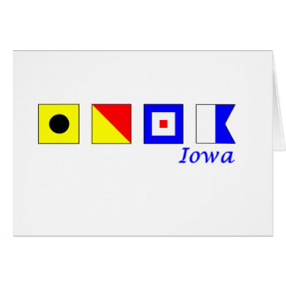Iowa spelled in nautical flag alphabet greeting card