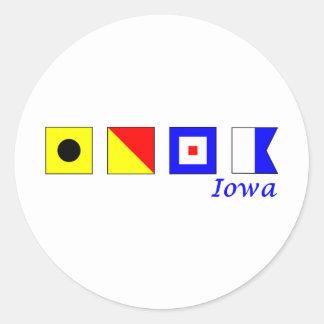 Iowa spelled in nautical flag alphabet classic round sticker
