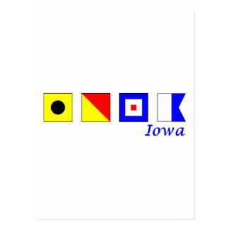 Iowa spelled in nautical flag alphabet postcard