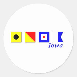 Iowa spelled in nautical flag alphabet stickers
