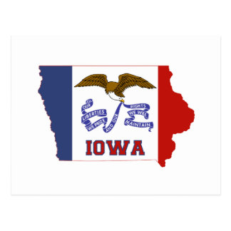 Iowa State Flag and Map Postcard