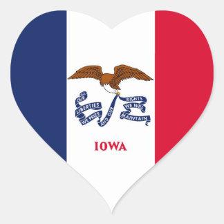 Iowa State Flag Heart Sticker