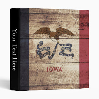 Iowa State Flag on Old Wood Grain 3 Ring Binder