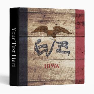 Iowa State Flag on Old Wood Grain 3 Ring Binder