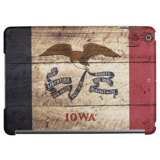 Iowa State Flag on Old Wood Grain iPad Air Case