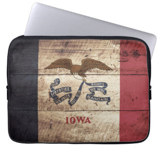 Iowa State Flag on Old Wood Grain Laptop Sleeve