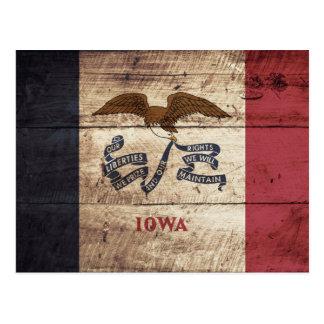 Iowa State Flag on Old Wood Grain Postcard
