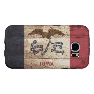 Iowa State Flag on Old Wood Grain Samsung Galaxy S6 Case