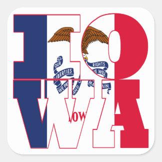 Iowa state flag text square sticker