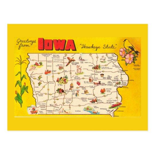 Iowa State Map Postcard
