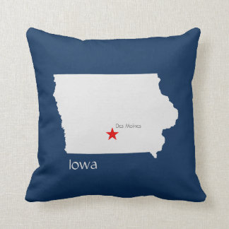 Iowa State Map with Capitol Star Throw Pillow