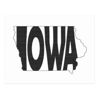 Iowa State Name Word Art Black Postcard