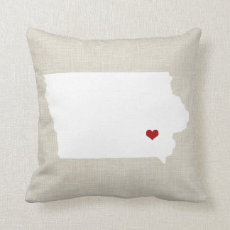 Iowa State Pillow Faux Linen Personalized