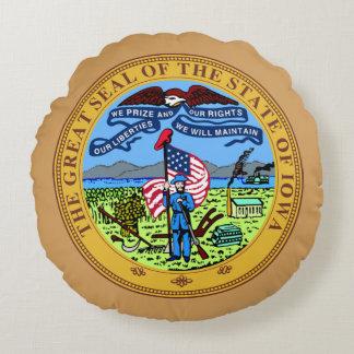 Iowa  State Seal Round Pillow
