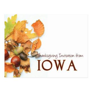 Iowa  thanksgiving invitation postcard