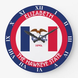 Iowa The Hawkeye State Personalized Flag Large Clock
