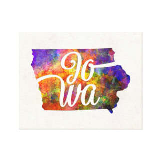 Iowa U.S. State in watercolor text cut out Canvas Print