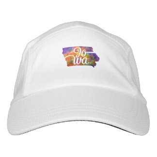 Iowa U.S. State in watercolor text cut out Hat