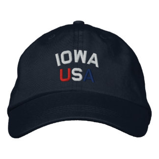 Iowa USA Embroidered Navy Blue Hat Embroidered Hat