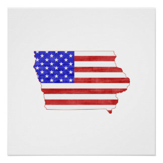 Iowa USA silhouette state map Poster