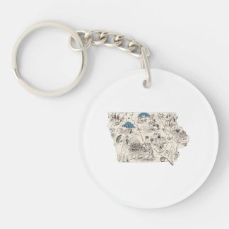 Iowa Vintage Picture Map Keychain