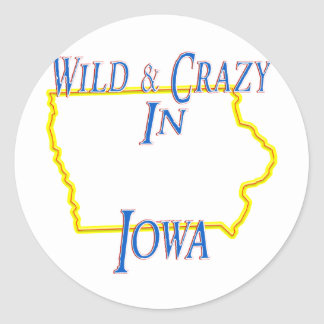 Iowa - Wild and Crazy Round Sticker