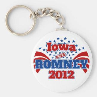 Iowa with Romney 2012 Basic Round Button Keychain