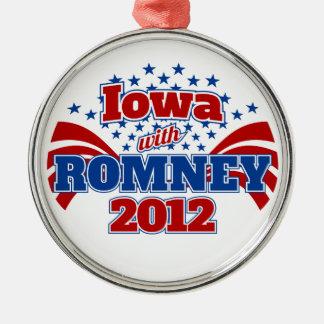 Iowa with Romney 2012 Metal Ornament