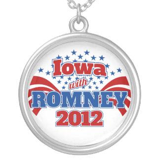 Iowa with Romney 2012 Round Pendant Necklace