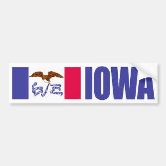 Iowa with State Flag Bumper Sticker