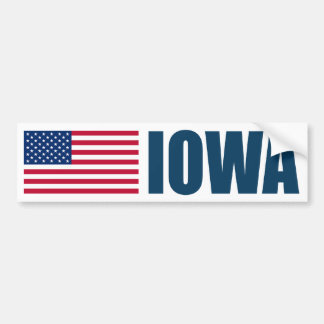 Iowa with US Flag Bumper Sticker