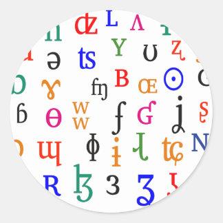 IPA characters Classic Round Sticker